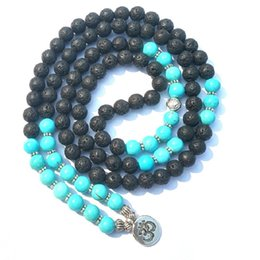 Long beaded neckLace designs online shopping - New Design mm Natural Black Vocanic Rocks Stone Orchid Pine Lava Rock Mala Long Bracelet or Necklace with OM Pendant Yoga