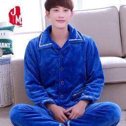 Men Pajama Sets Winter Warm Coral Fleece Autumn Men Sleepwear Suits Thick Pijama  Man Long Sleeve Homewear Pyjama Male L XXL XXXL cb9bcd234