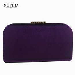clutch bag party green NZ - NUPHIA Velvet Hard Case Box Clutch Evening Bags and Evening Clutch Bags for Party Prom Evening Green Purple Navy blue Red Y18103004
