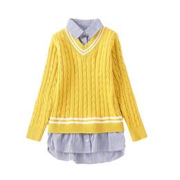 long collar shirts for girl 2019 - Autumn Winter Teen Girls Suits Children's Sweater For Girls Sweater+Long Sleeve Striped T-shirt 2Pcs Sets Kids Knit
