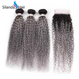 $enCountryForm.capitalKeyWord Australia - Silanda Hair Hot Sale #T 1B Grey Kinky Curly Brazilian Remy Human Hair Weaves 3 Weft Weaving Bundles With 4X4 Lace Closure Free Shipping