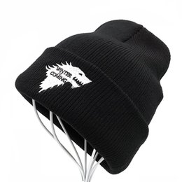 $enCountryForm.capitalKeyWord Canada - Balaclava Winter Warm Knitted Beanie Hats Brand Game of Thrones Skullies Teenager Embroidered Dire Wolf Hats for Men and Women