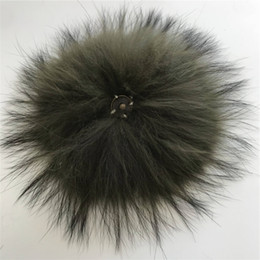 "army green shoes Canada - 15cm 6"" Army Green- Real Raccoon Fur PomPom Ball For Hat Cap Coat Shoes Accessaries w Button"