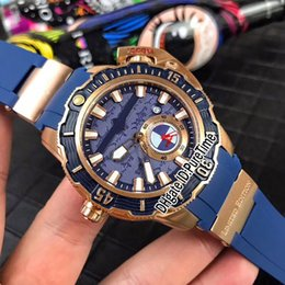 Hammer mecHanical online shopping - 2018 New Style Maxi Marine Diver LE HAMMER Rose Gold Blue Dial Automatic Mens Watch Big Crown Sports Watches Black Rubber B1c3