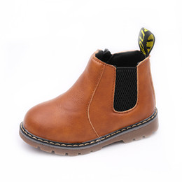 Chinese  hot sell Crystal children PU leather Children Martin boots short boots Mid-tube side zipper boy and girls comfortable small shoes 21-36 manufacturers