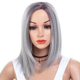 cute human hair Australia - 15inches Fashion Women Natural Short Full Lace Front Wigs Cute Bobo Human Hair Cosplay Wig Synthetic hair wig