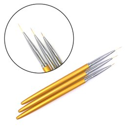 China 3pcs Gold Fine Art Nail ALiner Pens Metal Handle For UV Gel Polish Painting Drawing Lining Brushes Nails Tools Manicure cheap fine art tools suppliers