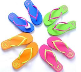 $enCountryForm.capitalKeyWord Australia - 100pcs 5 Colors Girls Pink Flip Flops Love Pink Sandals Pink Letter Beach Slippers Shoes Summer Soft Beach Slipper Y152