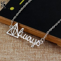 Discount necklace fans - Always Necklace Deathly Hallows Silver Letter Pendant for Men and Women Chain Necklaces Fans Gift