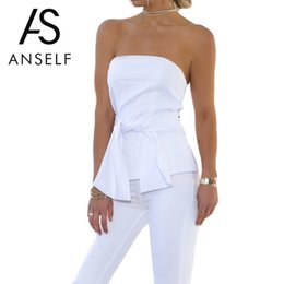 Discount sexy off shoulder womens shirt - Anself 2018 Summer Off Shoulder White Women Blouse Casual Beach Crop Tops Sexy Ladies Shirt Womens Tops And Blouses Bow