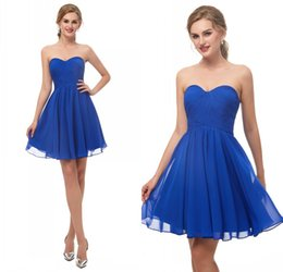Summer beach wedding dreSSeS for gueStS online shopping - Royal Blue Country Bridesmaid Dresses Short Cheap For Wedding Chiffon Beach Wedding Guest Dress LQ