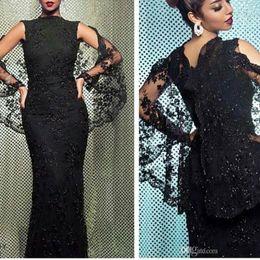 $enCountryForm.capitalKeyWord NZ - Stunning Black Lace Evening Dresses with Cape 2018 Newest Sleeveless Mermaid Jewel Neck Fashion Formal Arabic Evening Gowns Sequins Elegant