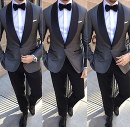 $enCountryForm.capitalKeyWord NZ - 2018 New Design Two Piece Gray Groomsmen Suits Cheap Black Shawl Lapel Custom Made Slim Fit Wedding Tuxedos for Men (Jacket+Pants+Tie)