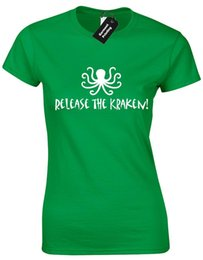 China RELEASE THE KRAKEN LADIES T SHIRT FUNNY PIRATES SPARROW DESIGN CARIBBEAN JACK suppliers