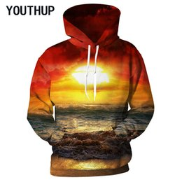 d6d11e1e2f5e YOUTHUP 2018 Plus Size Spring Hooded Hoodies Men Women Long Sleeve Pullover Sweatshirts  3D Print Sea Sunset Casual Men Tops