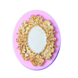 diy mirrors 2019 - retro frame mirror lace pattern silicone mold lace photo frame chocolate party cake decorating tools DIY for kitchen bak