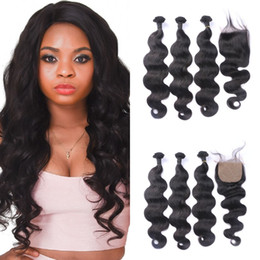 $enCountryForm.capitalKeyWord Australia - Body Wave Silk Base Closure with Bundles Unprocessed Burmese Human Hair Weave 3 Bundles with Closure FDshine