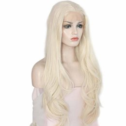 $enCountryForm.capitalKeyWord Australia - Synthetic Long Blonde Wig With Natural Hairline Natural Long Wavy Glueless Synthetic Fiber Hair Platinum Blonde Lace Front Wig
