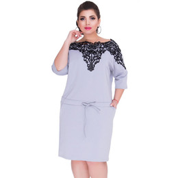 20187 2018 Brand Plus Size 6XL Summer Dress Hot Fashion Elegant Sexy Lace  Stitching Large Size Dress Office Lady Midi Dresses Blue Red 543e80f99afc