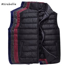 Grey Casual Man Vest Canada - Mirabelle Brand 2018 New Vest Men Sleeveless Jacket Winter Autumn Ultralight Black Down cotton Vest Male Casual Slim Warm Waistc