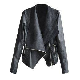 Long styLe women s jackets online shopping - Street Style Slanted Zipper Irregular Large Lapel PU Leather Coat Lady Fashion Pure Color Casual Jacket
