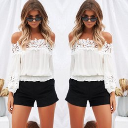 Fashion Ladies Off Shoulder Lace Blouses Women Summer Long Sleeve Bandage Crop Tops Shirt Sexy Hollow-out Casual White Blouse #l Women's Clothing