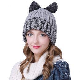 ef82049be65 Sedancasesa 2018 New High Quality Skullies Beanies Handmade Bowknot Winter  Hat For Women Girl s Hat Knitted Warm Cap Lady Caps