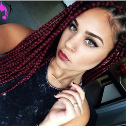 burgundy red hair color black women NZ - Long 12-30inches Burgundy color Braided Wigs with baby Hair Heat Resistant Synthetic Lace Front Wigs for Black Women