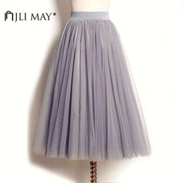 Wholesale adult tutus skirts for sale - Group buy JLI MAY Long adult tulle skirt wedding maxi layers black white elastic pleated mesh mid calf tutu women summer eleparty