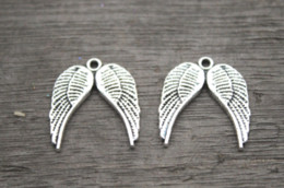 TibeTan silver angel wing charms online shopping - 15pcs Angel Wings Charms Antique Tibetan Tone wing charm pendants x19mm