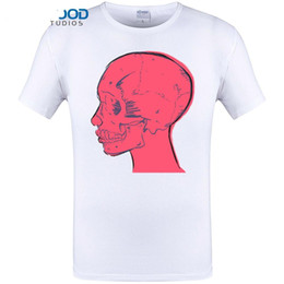White Shirts Styles Designs For Men Australia - Cool Pink Skull Print Men Summer Short Sleeve Funny Style Tops Brand Clothing Hipster Design T shirts for Plus Size