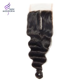 Wholesale Modern Show Loose Wave Human Hair Lace Closure Remy Hair Middle Part Lace Closure Swiss Lace Natural Black B