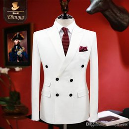 clothing for wedding man 2018 - Wholesale- brand clothing slim fit men suits white tuxedo coat pant vest double breasted groom wedding suits for men for