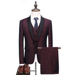 China Brand Men Tuxedo Suit red Big Size S-5XL Shawl Collar 3 Pieces Dress Suit Slim Fit Groom Wedding Suits for Men Formal suppliers