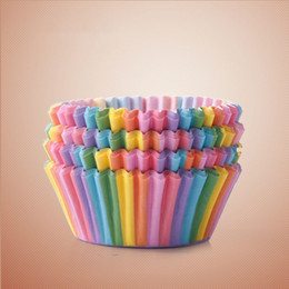 Kitchen Decorators Australia - Rainbow color 100pc cupcake liner baking cup cupcake paper muffin cases Cake box egg tarts tray kitchen accessories tools,4color free shippi
