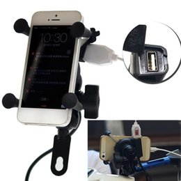 Universal phone moUnt for bicycle online shopping - Universal V Motorcycle Cell Phone GPS Mount Holder X Grip Clamp with USB Charger V A For Electric Bicycle Scooter ATV car