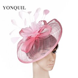 6b08f89738e 2018 NEW arrival 21 colours or pink big Sinamay fascinator hat with feather  flower for women kentucky derby wedding party races