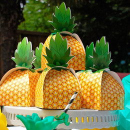 Wholesale Party Favor Box Pineapple Candy Boxes Hawaii Luau Birthday Tropical Summer Beach Theme Party Decoration Supplies QW7206