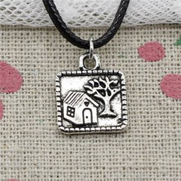 $enCountryForm.capitalKeyWord NZ - Creative Fashion Antique Silver Pendant tree house 16*14mm Necklace Choker Charm Black Leather Cord Handmade Jewlery