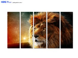$enCountryForm.capitalKeyWord Australia - Large Contemporary Hot Sale Art Wall Animal Lion Head oil painting Picture Printed on canvas for Living Room Bedroom Home Decor Aset167