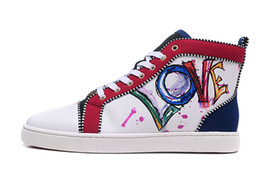 $enCountryForm.capitalKeyWord NZ - New Brand High Top Sneakers Red Bottom Shoes Women Men Trainers white Genuine Leather love printed Top Quality Red Sole Luxury Shoes 35-47