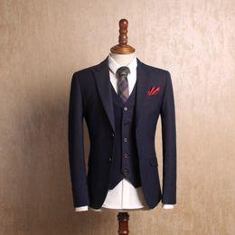 Dark Blue Suits Australia - new arrival Fashion vintage Dark Blue gold stripe slim male suit hihg quality casual dress autumn winter size S M L XL XXL