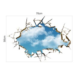 hot 3d wallpaper NZ - Hot Sale Blue Sky 3D Broken Wall Mural Stickers PVC Self-adhesive Living Room Decorative Decals Creative Wallpaper for Bedroom Removable