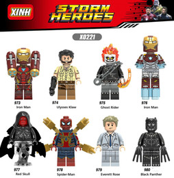 Best Block Building NZ - Wholesale Superhero Character Black Panther Spiderman Steel Man Knight Set Brick Building Blocks Best Children's Gift Toy X0221
