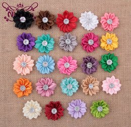 button hair accessories Canada - Nishine 24 Colors Satin Ribbon Multi-layer Flowers With Acrylic Button Center Diy Hair Flowers For Girls Cloth Head Accessories