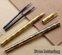 Pen Connection Australia - Free lettering Bamboo section Removable manual brass Pens Collection gifts classic style Fine thread connection polished Roller ball Pen