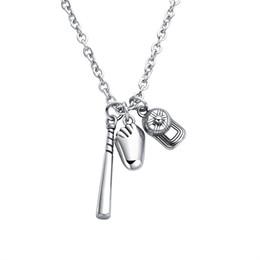 Discount titanium gloves - JeeMango Baseball Bat Baseball Glove Bat Charm Necklace In Stainless Steel Sport Jewelry Sport Men Gift OGX1417