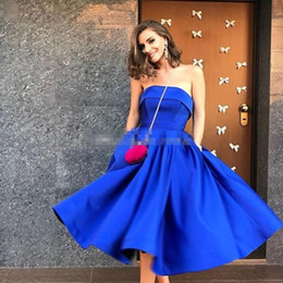 short strapless chiffon draped dress NZ - Light Sky Blue Strapless Prom Dresses Ruffles Satin Calf Length Ball Gown Evening Party Dresses Royal Blue Short Evening Gowns