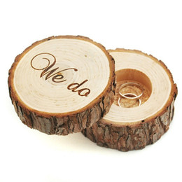 """wood day beds 2019 - Printed """"We do"""" Wooden Simulation Wedding Ring Holder Box Romantic Valentine's Day Chic Rustic Bearer Sto"""