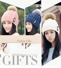 Korean Beanies Canada - Korean Style Newest WomenTrendy Hats Winter Knitted Woolen Beanie Thicken B Lable Caps Leisure Outdoor Warm Caps